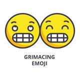 Grimacing emoji vector line icon, sign, illustration on background, editable strokes. Grimacing emoji vector line icon, sign, illustration on white background Royalty Free Stock Photo