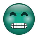 Grimacing face emoticon funny icon Stock Photo