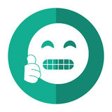 Grimacing face emoticon funny shadow Stock Image