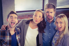 Grimacing friends having fun Royalty Free Stock Photography