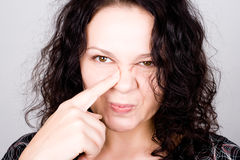 Grimacing funny woman Stock Photography