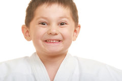 Grimacing karate kid Royalty Free Stock Images