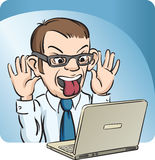 Grimacing Man with Laptop Computer Royalty Free Stock Image