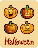 Grimacing Pumpkin Heads Of Jack-O-Lantern Royalty Free Stock Photography