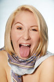 Grimacing woman Stock Photography