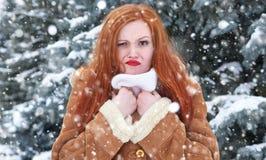 Grimacing woman having discomfort weather, winter outdoor portrait. Grimacing woman having discomfort on winter weather, outdoor portrait Stock Image