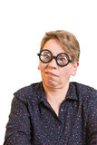 Grimacing woman thick glasses Royalty Free Stock Image