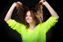 Grimacing. Young Woman Making Silly Face. Stock Image