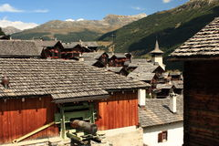 Grimentz village in Swiss Alps Royalty Free Stock Image