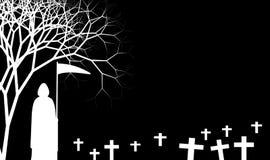 Grimm-Reaper minimal dans la conception d'illustration de thème de Halloween illustration de vecteur