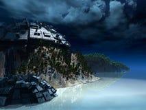 Grimmige fantastische Nachtlandschaft Stockbild