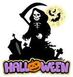 Grimmiger Reaper mit Halloween-Zeichen Lizenzfreie Stockfotos