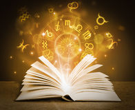 Grimoire. Magic book with magical symbols Royalty Free Stock Photo
