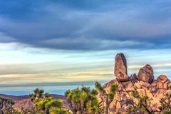 Grimpeurs sur de grandes roches en Joshua Tree Image libre de droits