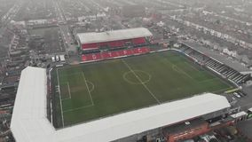 Grimsby, United Kingdom - March 1, 2019: Aerial view of the Grimsby Town Football Club Stadium named Blundell Park. Typical example of a lower league stock footage