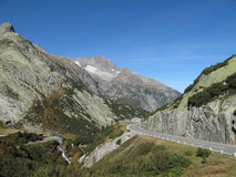 Grimsel pass road. In switzerland in autumn royalty free stock photography
