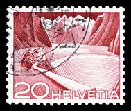 Grimsel reservoir, ONU/UNO - United Nations European Office serie, circa 1950. MOSCOW, RUSSIA - FEBRUARY 10, 2019: A stamp printed in Switzerland shows Grimsel stock photo