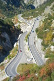 Grimselpass / Grimsel Pass. Famous swiss alpine road leading up to the Grimsel pass. It is the national cycle route 8 from Switzerland which is used at times for Royalty Free Stock Photos