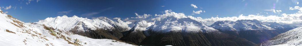 Grimselpass Panorama. Early winter panorama from Grimselpass in Swiss Alps royalty free stock photo