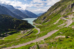 Grimselpass road view Stock Photo