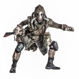 Grimy mutant creature of nuclear apocalypse world. Dangerous, mysterious post apocalypse creature, global ecological disaster survivor in tatter, gas mask stock image