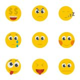 Grin icons set, cartoon style. Grin icons set. Cartoon set of 9 grin vector icons for web isolated on white background stock illustration