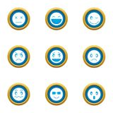 Grin icons set, flat style. Grin icons set. Flat set of 9 grin vector icons for web isolated on white background vector illustration