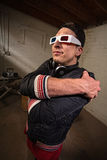 Grina rapparen med exponeringsglas 3D Arkivfoto