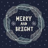 Grinalda alegre e brilhante do Natal com refei??es matinais do abeto ilustração stock