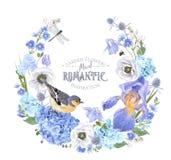 Grinalda azul da flor ilustração royalty free