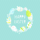 Grinalda bonito com ovos da páscoa, cartão em um fundo azul salgueiro Papel de parede, insetos, design web, folheto Imagem de Stock Royalty Free