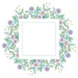 Grinalda botânica da aquarela Detalhes da decoração ilustração stock