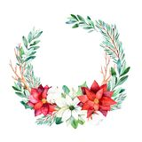 A grinalda brilhante com folhas, ramos, abeto, algodão floresce, pinecones, poinsétia Imagens de Stock Royalty Free
