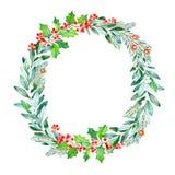 Grinalda brilhante com folhas, ramos, abeto, bagas, azevinho, pinecones Imagem de Stock Royalty Free