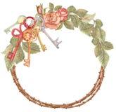 Grinalda com chaves, festa de inauguração da rosa da aquarela ilustração royalty free