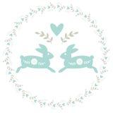 Grinalda com flores e coelhos Imagens de Stock Royalty Free