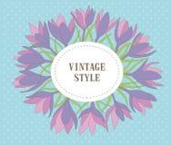 Grinalda com folhas, flor da flor do açafrão Fotografia de Stock Royalty Free