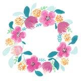 Grinalda da aquarela com flores cor-de-rosa ilustração royalty free