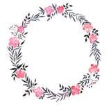 Grinalda da aquarela com flores cor-de-rosa Imagens de Stock Royalty Free