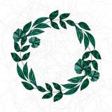 Grinalda da aquarela das folhas de louro do vetor O molde para o convite do casamento e salvar os cartões de data ilustração stock