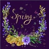 Grinalda da aquarela Projeto floral do quadro com mola do texto ilustração stock