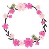 Grinalda da flor com pássaro Imagem de Stock Royalty Free