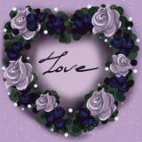 Grinalda da flor na forma de um coração para o dia de Valentim imagens de stock royalty free