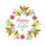 A grinalda da Páscoa com os ovos e a flor coloridos do teste padrão ramifica Fotos de Stock Royalty Free