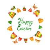 Grinalda da Páscoa da aquarela com ovos da páscoa Beira do círculo Imagens de Stock