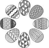 Grinalda da Páscoa ovos preto e branco isolados no branco Vinheta redonda Fundo abstrato feito dos ovos da páscoa ilustração do vetor