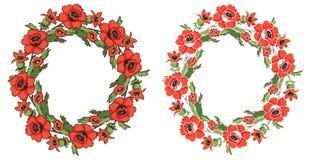 Grinalda da papoila das flores do quadro Fotos de Stock