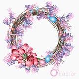 Grinalda da Páscoa dos galhos secados, lilás de florescência dos ramos, um ramalhete pequeno de flores cor-de-rosa e vermelhas e  Foto de Stock