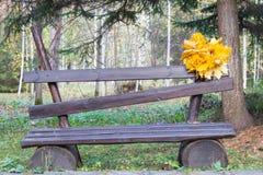 Grinalda das folhas de bordo amarelas no banco de madeira Backg natural imagem de stock