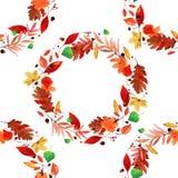 Grinalda das folhas de outono da aquarela Fotos de Stock